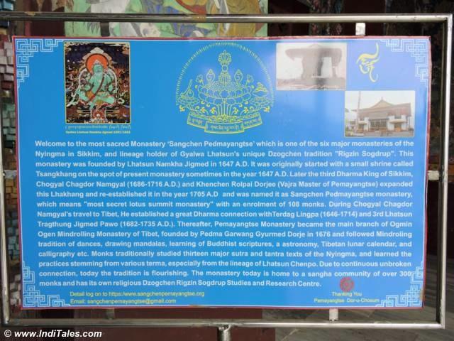 Pemayangtse Monastery board Pelling