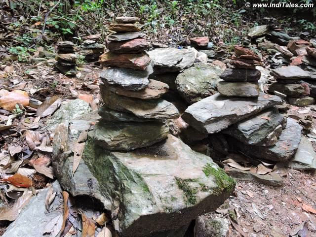 Piles of stones balanced creating a momentary art at Rabdentse Pelling