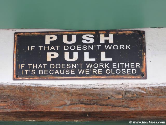 Push Pull Board at Landour Bakehouse