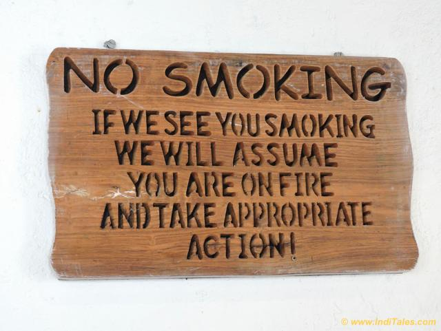 No Smoking Board at Landour Bakehouse