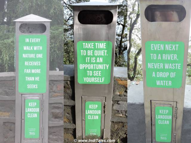 Wisdom on the waste bins at Landour