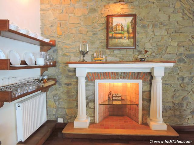 Fireplace at one of the Rokeby Residences, Landour