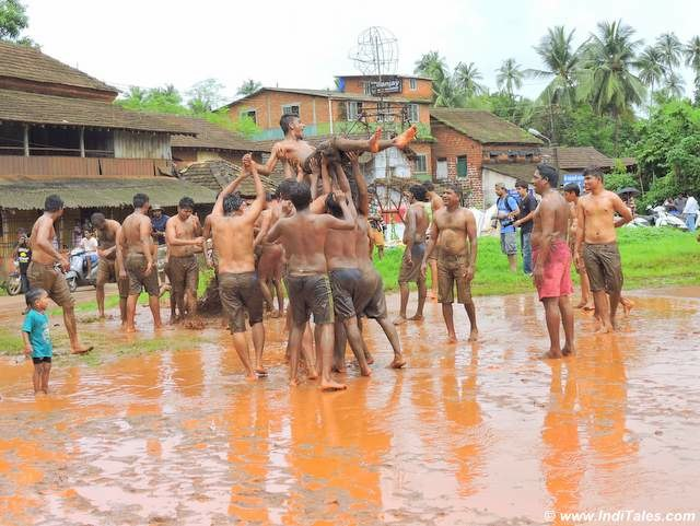 mud games at Chikal Kalo, Goa