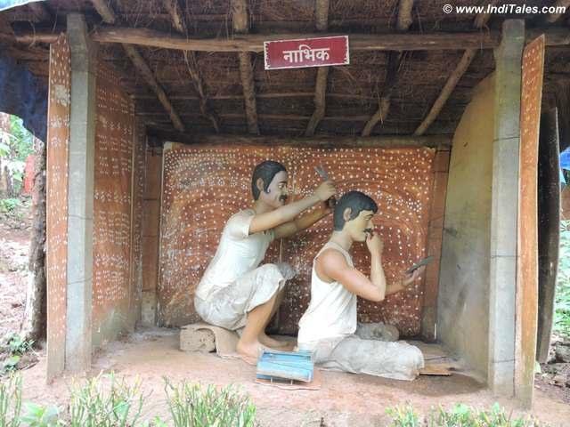 Barber being depicted at Prachin Konkan Museum, Ganpatipule