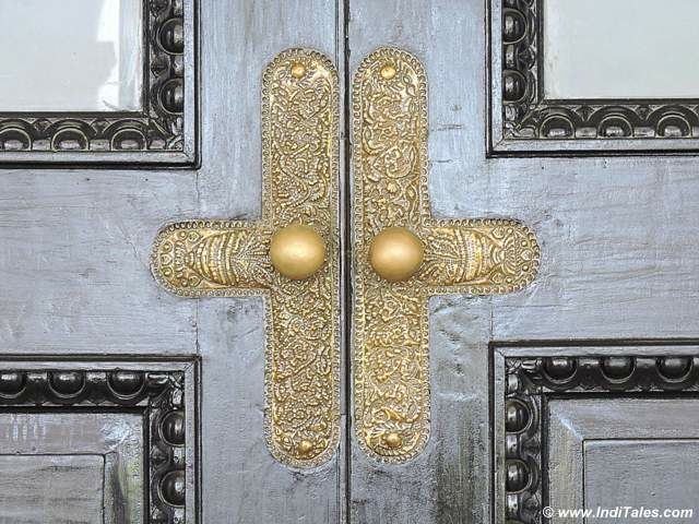 Ornate door knob in brass