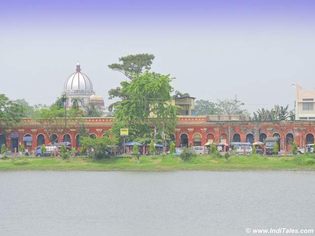Cooch Behar - Sagar Dighi and the dome of Raj Bari
