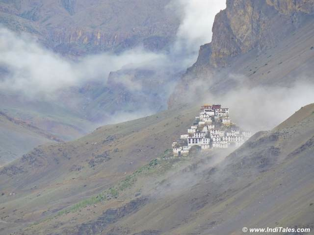 Key Monastery through the clouds