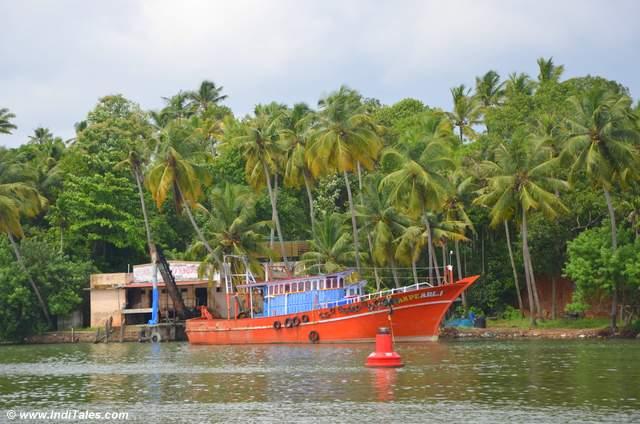Colorful Fishing Boats parked on Ashtamudi Lake