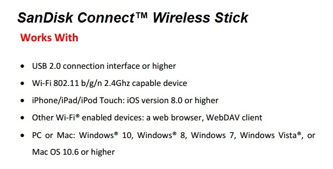 Technical Specs of SanDisk Connect Wireless Stick