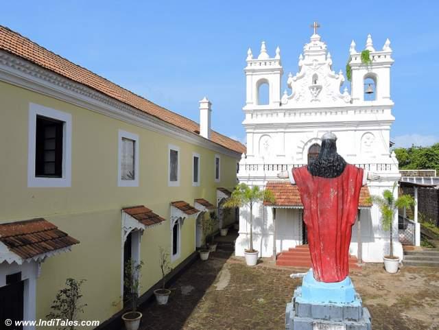 Church facade at Tiracol Fort