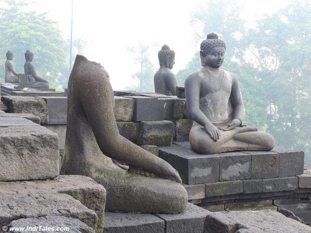 Buddha Images on the parapets of Borobudur Temple
