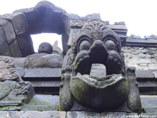 Ornate Gargoyles for water flow at Borobudur, Java, Indonesia
