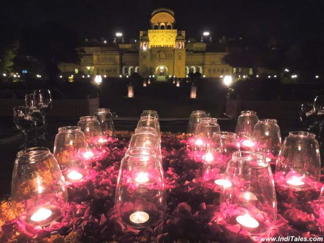 Candle lit dinner with a view of Laxmi Niwas Palace at Bikaner