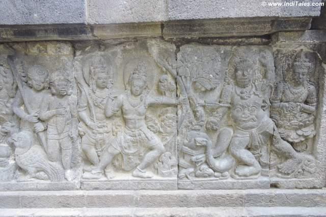 Bali Vadh or killing of Bali by Ram - Ramayana Panel - Prambanan