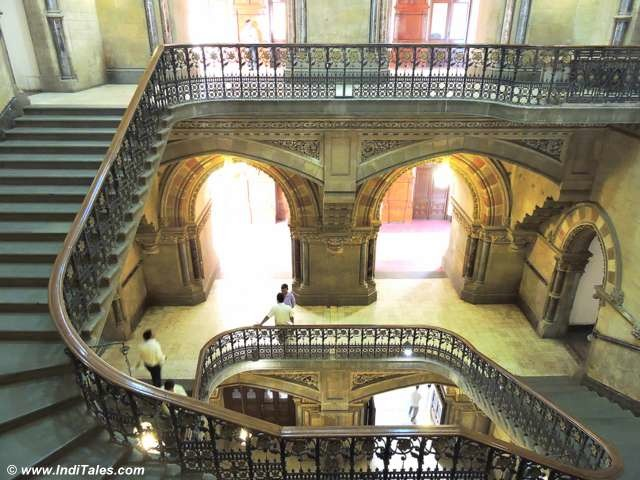 Top view of the spiral staircase at CST Mumbai