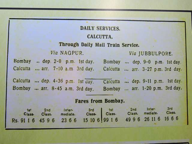 Timetable of trains between Bombay & Calcutta