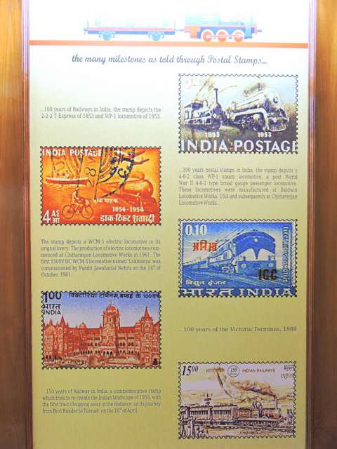 Commemorative postage stamps on Indian Railways at CST Museum