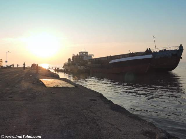 A cargo barge at Sewri Jetty, Mumbai during high tide & Sunrise