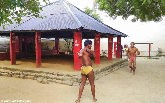 Wrestlers warm up at Tulsi Akhada, Tulsi Ghat, Varanasi