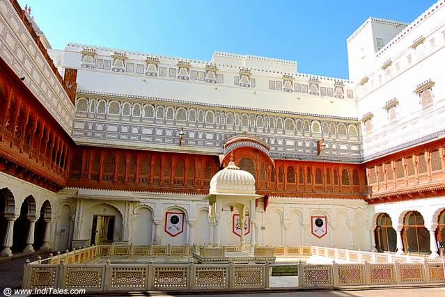 Marble pavilion in the courtyard of Junagadh Fort - Bikaner