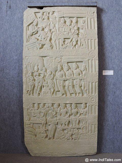 A Nagarjunkonda sculpture replicated at Lumbini Museum