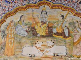 कृष्ण की कथाएं शेखावटी हवेली की भित्तियों पर