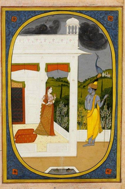 राधा-कृष्ण वर्षा ऋतु का आनंद लेते हुए, कांगड़ा शैली,