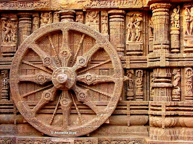 Carved wheels of Konark Sun Temple, Odisha or Orissa Tourist Circuit