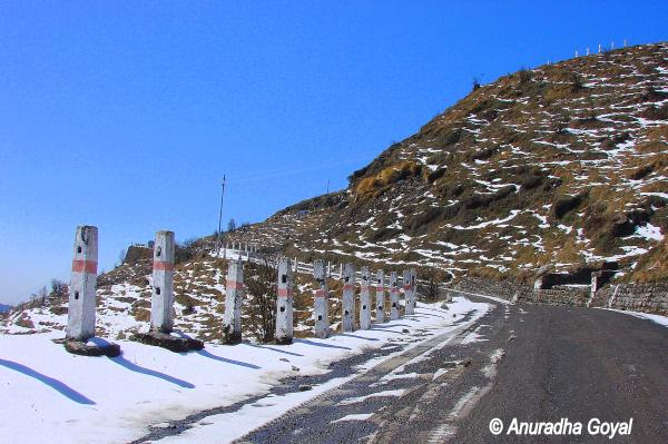 Snow-clad road at Sikkim