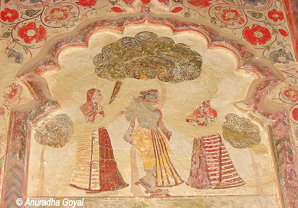 Lord Krishna on the wall murals at Orchha