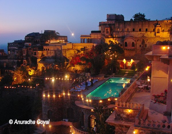 Swimming Pool by dusk at Neemrana Palace
