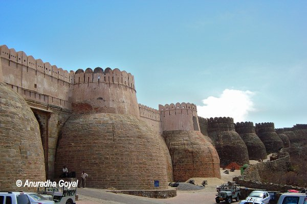 Mighty walls of Kumbhalgarh Fort and the massive entrance gate called Ram Pol