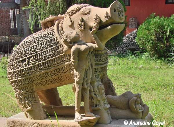 An intricately carved sculpture at Sanchi Museum