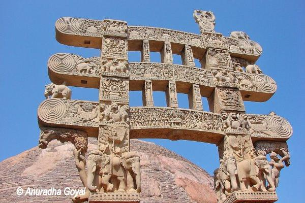 Torans or Arched Gateways at Sanchi Stupa with Jataka Tales Carved on them