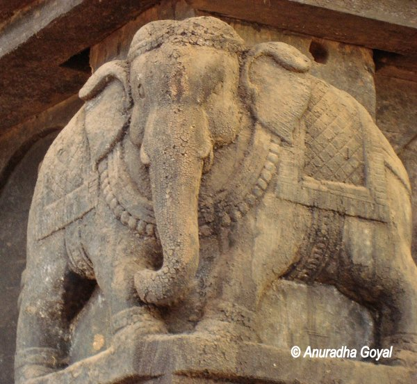 Elephant sculpture from both sides at Keladi