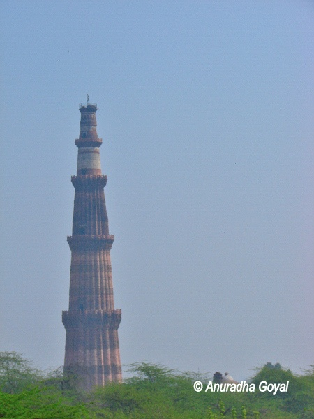 Qutub Minar as seen from North Mehrauli