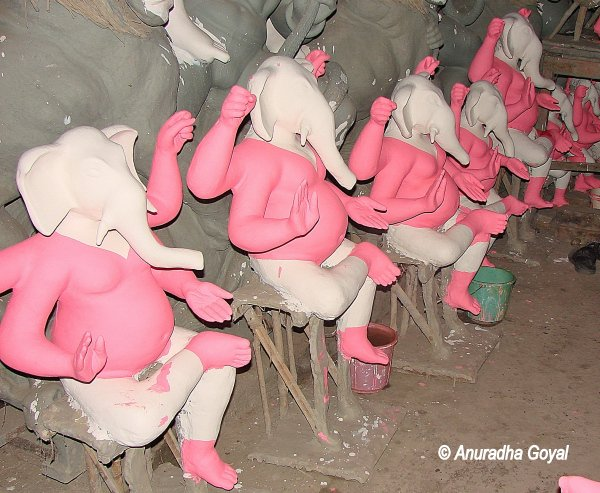 Base painted Ganesh idols at Kumartuli, Kolkata