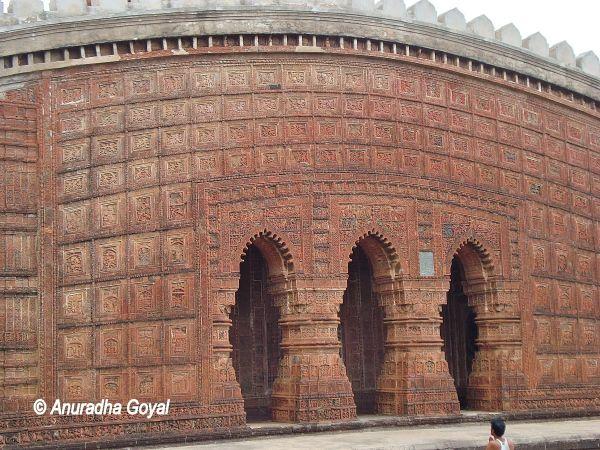 Intricate carvings on Shyam Rai Temple