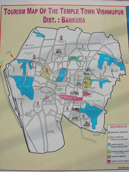 Tourism Map of Bishnupur Town, West Bengal