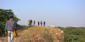 Walking on walls of Lal Kot, Delhi