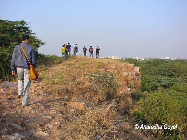Walking on walls of Lal Kot, Delhi