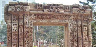 An ancient carved stone door-jamb at Patna Museum