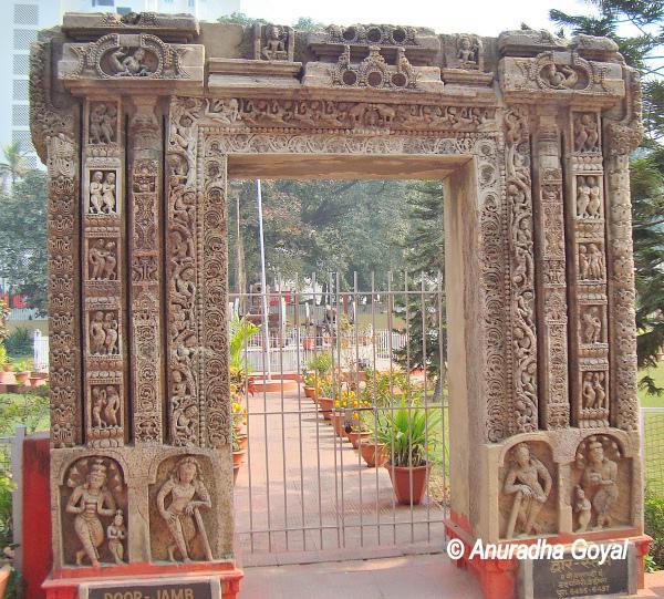 Carved stone door-jamb at Patna Museum