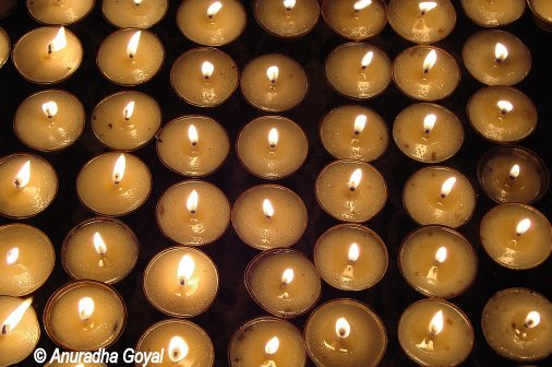 Candle Diyas offered at Mahabodhi Temple