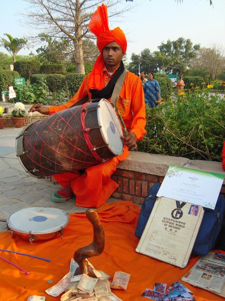 Folk artist performing at Garden of 5 Senses, Delhi