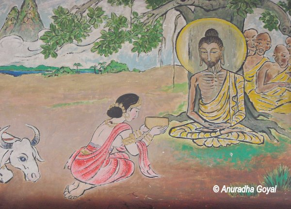 Sujata offering Kheer to Buddha