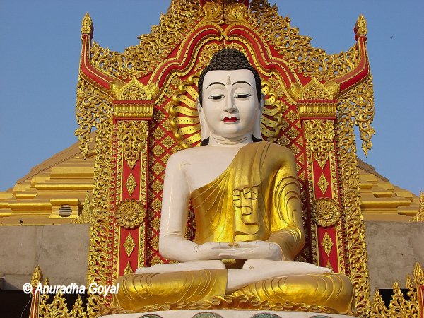 Buddha statue in Golden robe at Global Vipassana Pagoda, Mumbai