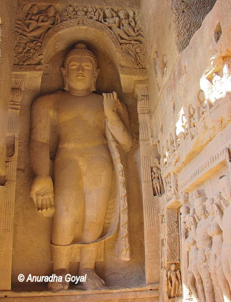 Giant Buddha statue carved at Kanheri caves, Mumbai