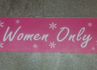 Pink Sign for Delhi Metro's Women Only Coach