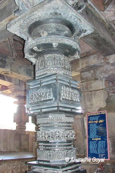 Black stone carved pillars at Ramappa temple